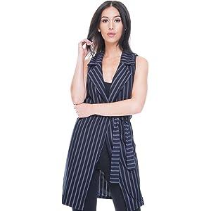 325445588d35 Momo&Ayat Fashions Ladies Sleeveless Pinstripe Tie Waist Blazer UK Size ...