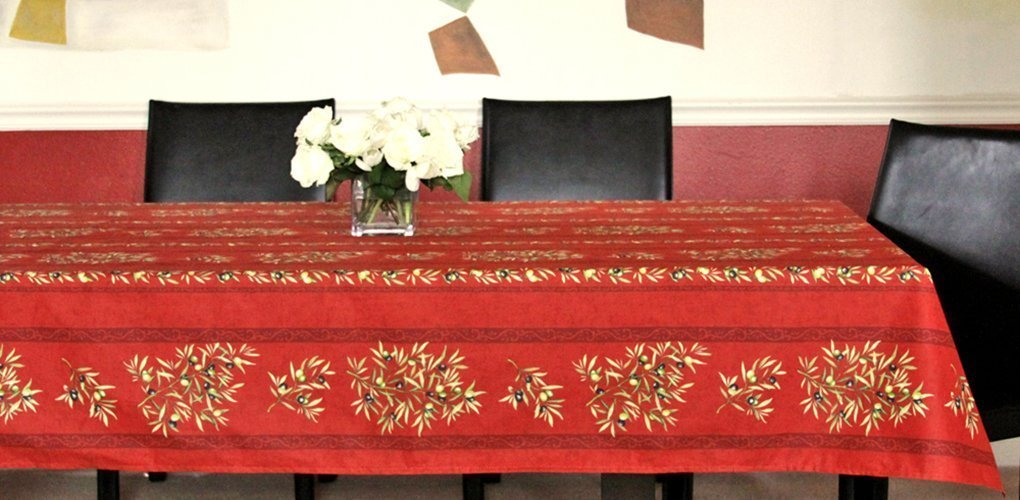 Christmas easy Care Rectangular or Oval Tablecloth Provence Olives Branches in Red - 72 to 130 inches -Please Choose the size and the Shape - Acrylic Coated Stain Resistant Christmas Tablecloth