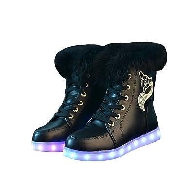 fa6ab25a4497ef O N LED Schuh Bunte Schneeschuhe Schneestiefel USB Aufladen 7 Farbe Leuchtend  Stiefel High-Top Freizeit