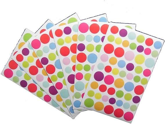 GUIZMAX 324 gommette Stickers Rond Multicolore