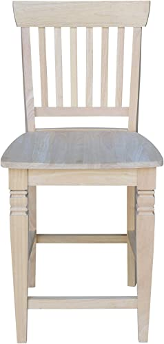 International Concepts Unfinished Seattle Counter Height Stool