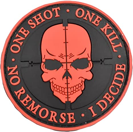 Parche Morale Sinper Black One Shot One Kill No Remorse I Decidir táctico militar Morale 3D PVC parches de velcro: Amazon.es: Juguetes y juegos