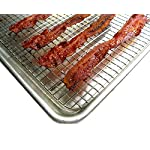 """Cooling, Baking & Roasting Wire Racks for Sheet Pans - 100% Stainless Steel Metal Racks for Cooking - Dishwasher Safe, Rust Resistant, Heavy Duty 9 COMMERCIAL GRADE 304 (18/8) STAINLESS STEEL COOLING RACK offers superior rust resistance and long-lasting quality FITS LARGE 13""""x18"""" BAKING & COOKIE SHEETS perfectly inside the food pan HEAVY DUTY WIRE GRID WITH 3 SUPPORT CROSS BARS create a raised design for best air circulation"""