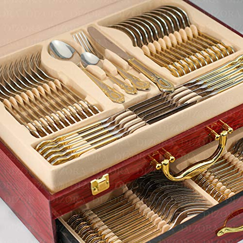 (DIZORA 75-Piece Flatware Set for 12, Premium 18/10 Surgical Stainless Steel Silverware Cutlery Dining Service, 24K Gold-Plated Hostess Serving Set, Gift Wooden Storage Case (Palace - Gold))