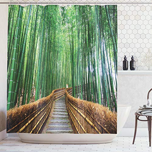 Ambesonne Colorful Tropical Decor Wildlife Shower Curtain Bridge Over Tree Bamboos Bathroom Art Decorations for Women and Men Nature View with Exotic Landscape Zen Spa Yoga Design, Green Brown