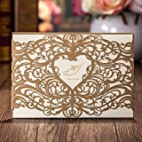 Laser Cut Gold Hollow Heart Design Romantic Wedding Invitations Cards Marriage Celebration Announced Cardstock CW5018 (100)