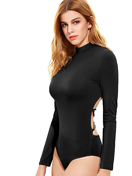 9457b27296 Amazon.com  DIDK Women s Backless Long Sleeve Bodysuit  Clothing