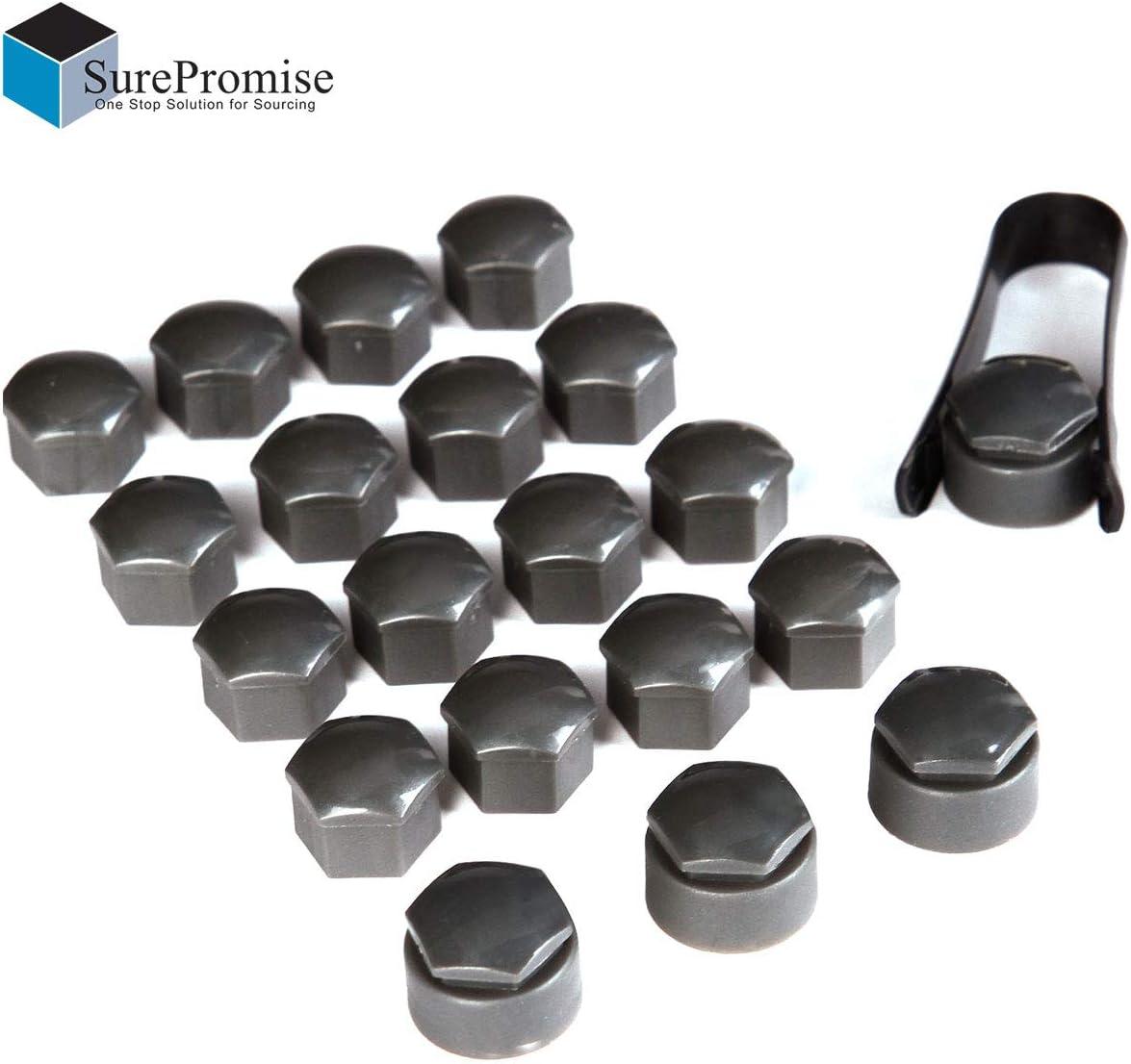 copribulloni universali da 19 mm per Ruota Esagonale 16 Standard + 4 copribulloni di bloccaggio + 1 Strumento di rimozione SurePromise Colore: Grigio
