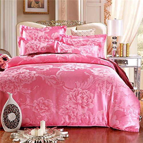 YIweNi Wedding cotton viscose satin jacquard 4 piece wedding pure cotton bed Suite 4 piece of gift flowers SST toner ,1.8-2.0 m bed 2.2 meters kit (Satin Sst)