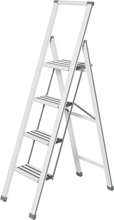 WENKO Escalera plegable en diseño de aluminio 4 peldaños, blanca, Haushaltsleiter, Aluminio recubierto, 44 x 153 x 5.5 cm, Blanco: Amazon.es: Hogar