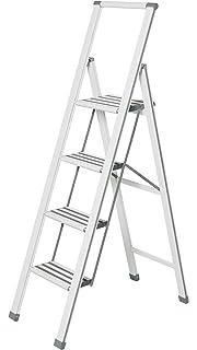 Wenko Escalera Plegable con 3 peldaños, Aluminio, Color Blanco/Gris, 44 x 127 x 5,5 cm, 601016100: Amazon.es: Hogar