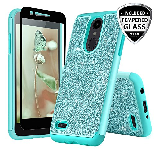 TJS Case for LG Aristo 2/Aristo 2 Plus/Aristo 3/Aristo 3 Plus/Tribute Dynasty/Tribute Empire/Fortune 2/Rebel 3 LTE [Full Coverage Tempered Glass Screen Protector] Glitter Girls Women Phone (Teal)