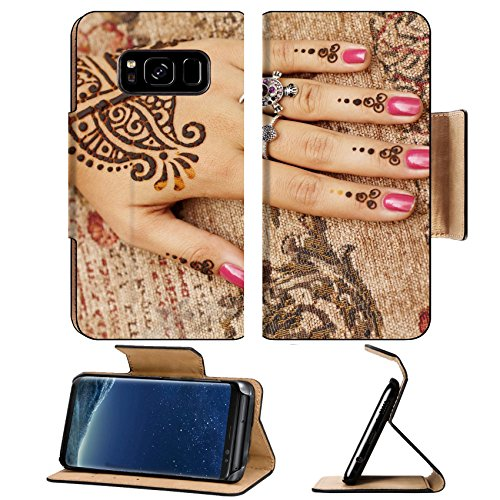 Liili Premium Samsung Galaxy S8 Plus Flip Pu Leather Wallet Case The Indian pattern is drawn a girl Mehandi B Photo 15398873 Simple Snap Carrying - Kid Drawn Border