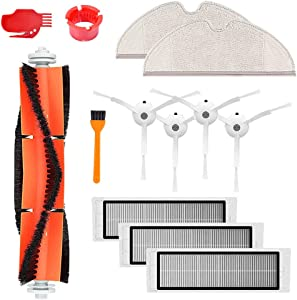 SELECTOP Replacement Accessory Kit for Xiaomi Mi Mijia 1/1S Roborock Vacuum Cleaner E25 E20 E35 S50 S51 S5 S6, 3 Hepa Filters, 1 Main Brushes, 4 Side Brushes, 2 Mop Cloth, 3 Cleaning Tools