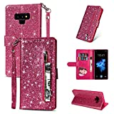 ZCDAYE Galaxy S7 Edge Wallet Case,Bling Glitter Sparkly Zipper PU Leather Magnetic Flip Folio Card Pockets Holder with Wrist Strap Stand Protective Case Cover for Samsung Galaxy S7 Edge - Pink
