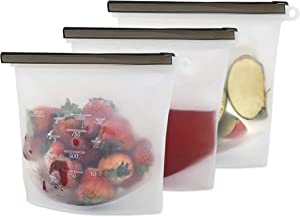 Store LLC Premium Quality Silicone Reusable Food Storage Bags Reusable Freezer Bags. Food Eco-Friendly Vacuum Zip Containers. Leakproof, Dishwasher-Safe, Microwave. Reusable Food Storage Bags. (3)