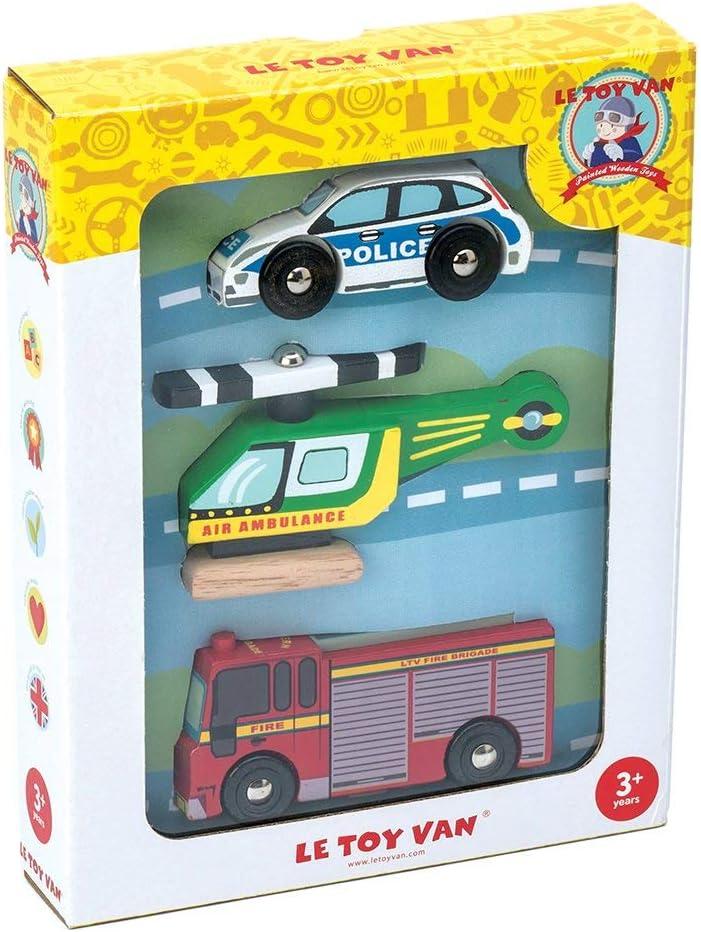 Le Toy Van Juego de veh/ículos de Emergencia de Madera