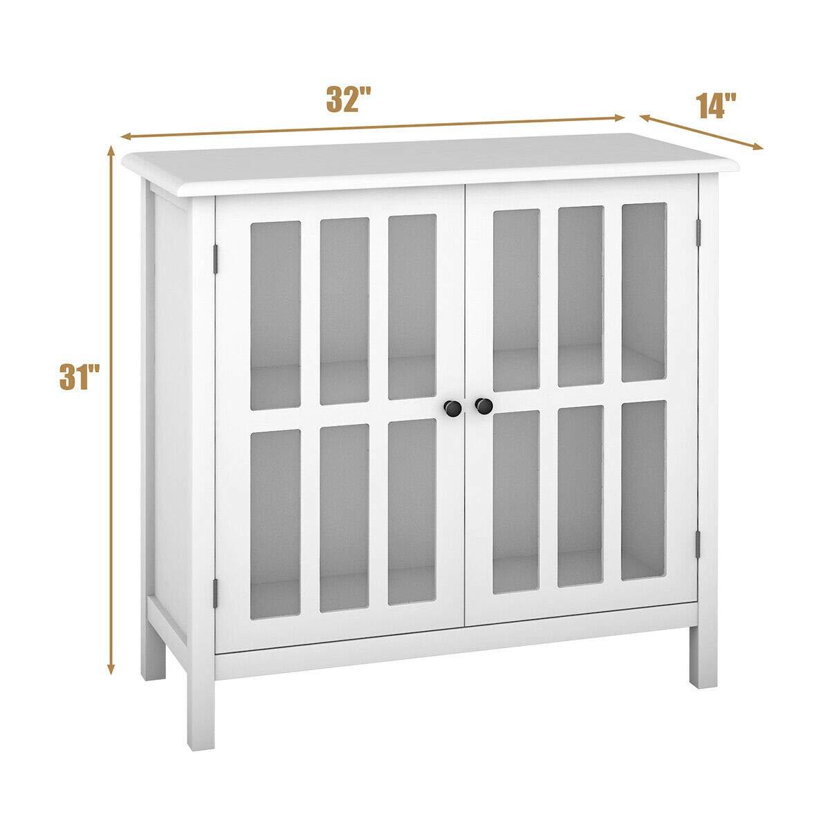 Amazon.com: Storage Buffet Cabinet Glass Door Sideboard ...