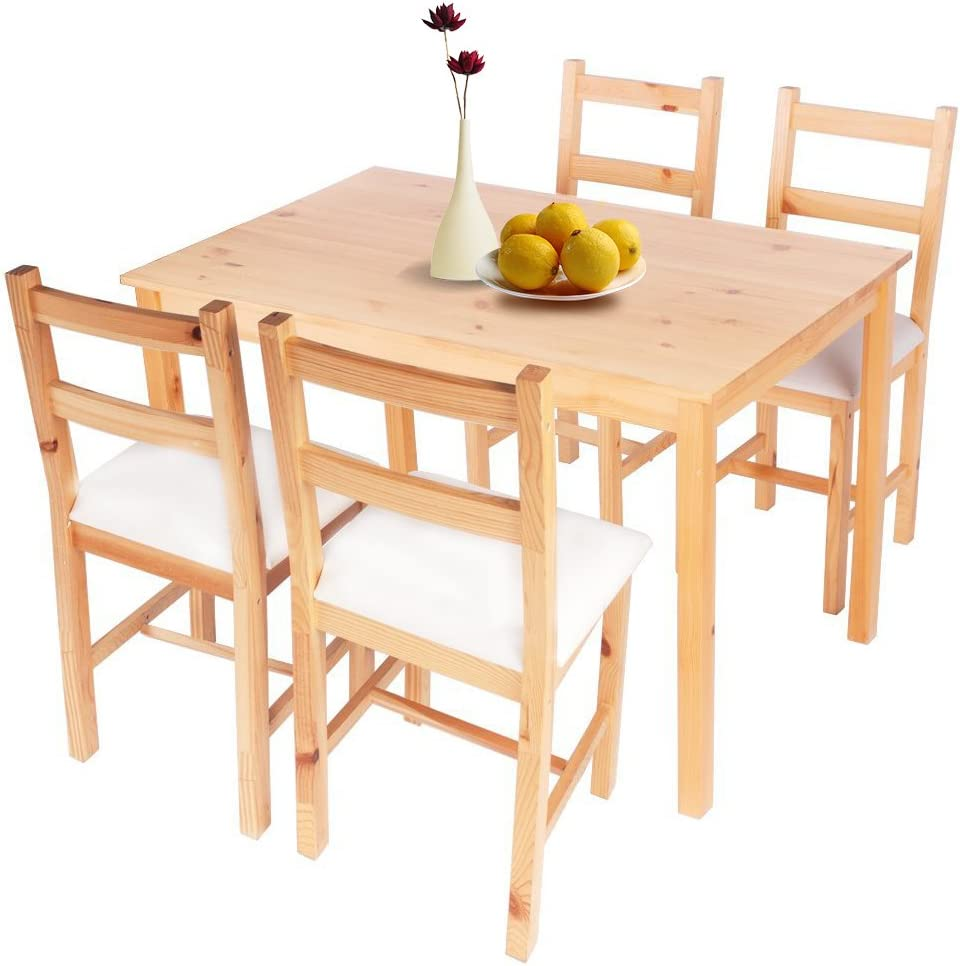 Btm Oak Pine Wood Dining Table And 4 Chairs Sets With Pad Leather Chair Seat Dining Table Four Chairs Amazon Co Uk Kitchen Home