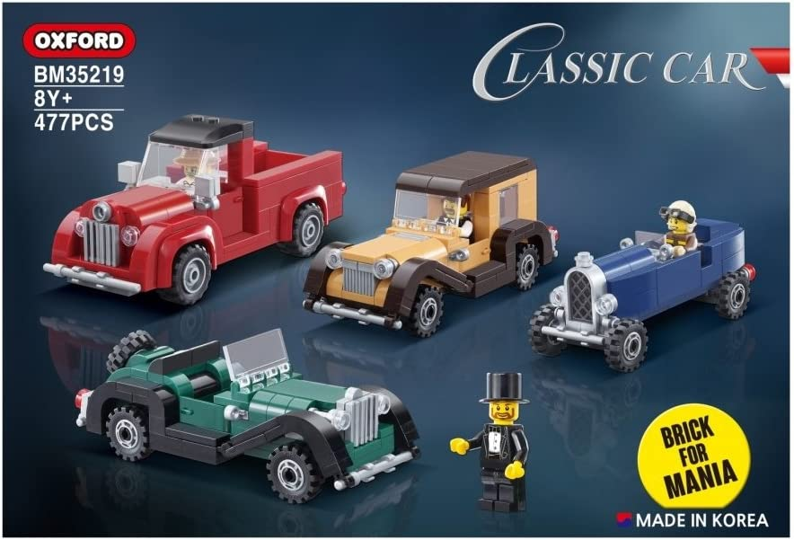 477pcs BM35219 4 Cars Classic Car Oxford Block Brick for Mania Line Assembly