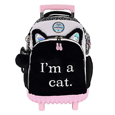 "Mozioni Kids Fashion 18"" Rolling Carry-on Luggage for Girls, School & Travel Lightweight Backpack for Boys 4-rubber Wheel & Cabin Size with Hard protection base and Cat fur front material 