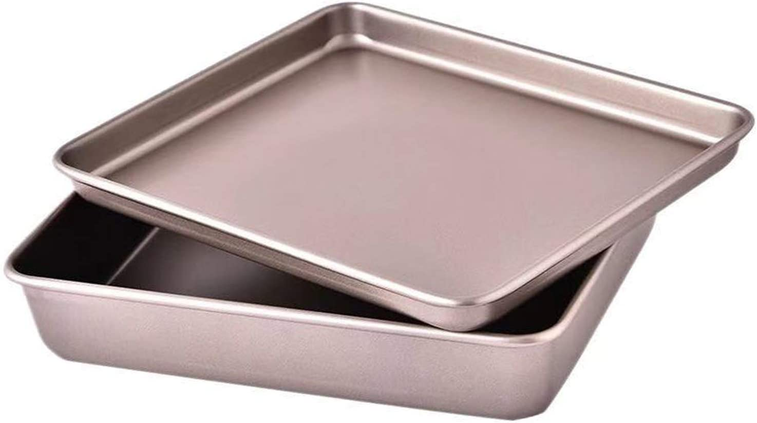 2Pcs Small Cookie Sheets 11 X 9 Inch Mini Baking Trays Toaster Oven Replacement Nonstick Thicken Heavy Carbon Steel No Warp Bakeware by HYTK