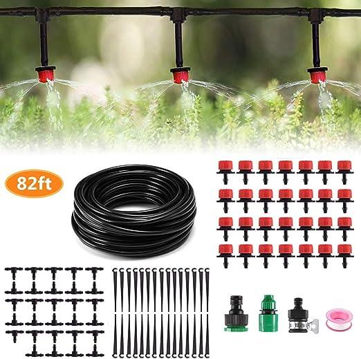 MSDADA - Kit de riego por Goteo, 25 m, Accesorio de riego para jardín, Sistema de riego de Plantas con Manguera de 1/4 Pulgadas, Set de riego para jardín de Plantas: Amazon.es: Jardín
