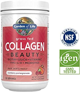 Garden of Life Grass Fed Collagen Beauty Powder for Hair Skin & Nails - Cranberry Pomegranate, 20 Servings - 12g Type I & III Peptides, 11g Collagen Protein, Biotin, Vitamin C, Probiotics, Keto Paleo