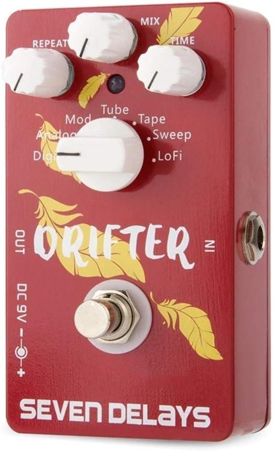 Pedal de Efectos para Guitarra Multi efectos de guitarra pedal de retardo con el circuito digital True Bypass 11.2x6.4x3.4cm pedal La guitarra parte (Color : Red, Size : One size)