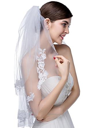 eeac80383f Edith qi 2 capa velo de apliques de novia velo de la boda de extremos  cortados con el peine  Amazon.es  Ropa y accesorios