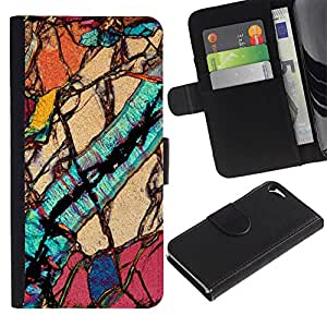 Apple iPhone 5 / iPhone 5S Modelo colorido cuero carpeta tirón caso cubierta piel Holster Funda protección - Macro Close Up Biology Geology