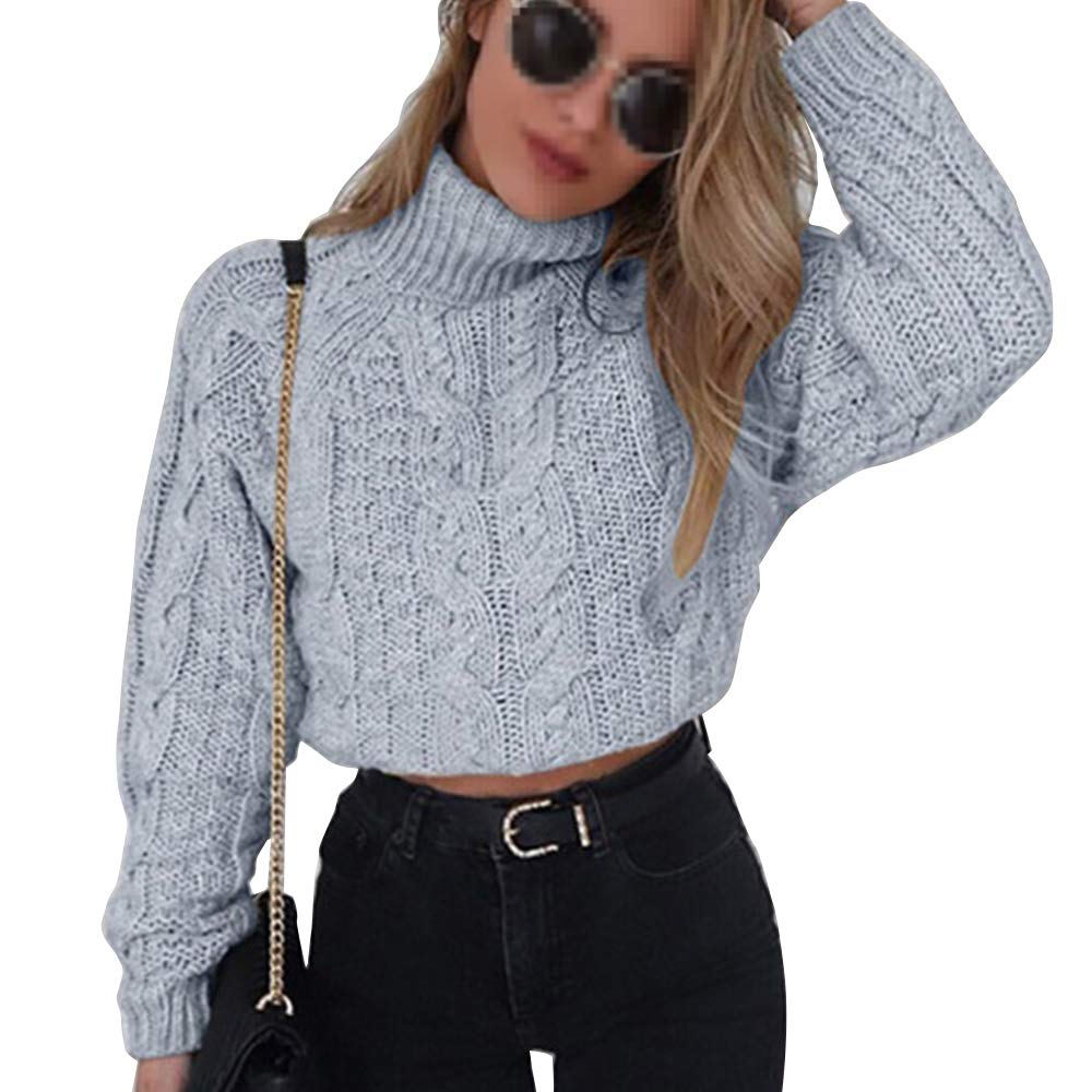 Pevor Womens Casual Turtleneck Long Sleeve Chunky Fall Winter Pullover Jumper Knited Sweater Crop Tops Grey S