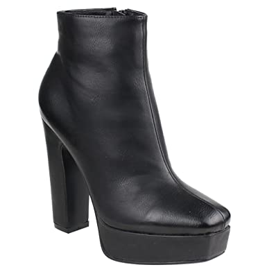 EI45 Women's Zipper Platform Chunky Heel Ankle Booties Half Size Small
