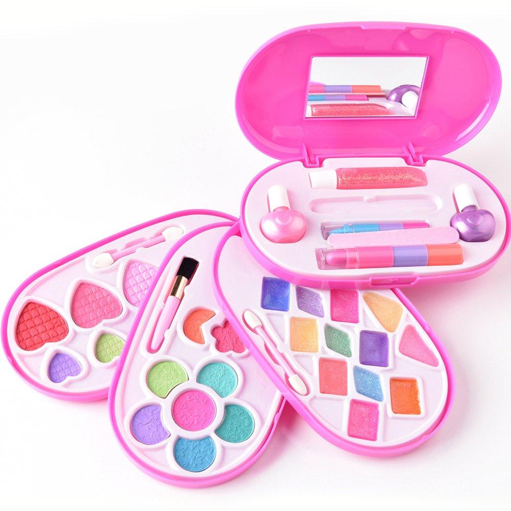 JQGT Trading Real Makeup Set Girls Cosmetics Makeup Kit Pretend Play Dress up Princess Game