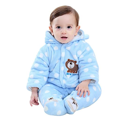 9b08d7cff Amazon.com: Sameno Newborn Baby Girl Boy Long Sleeve Velvet Jumpsuit  Cartoon Bear Dot Hooded Romper Clothes: Clothing
