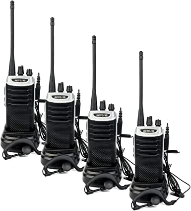Retevis RT7 Walkie Talkies Rechargeable UHF 16 CH FM Two Way Radio with Earpiece Silver Black Border, 4 Pack