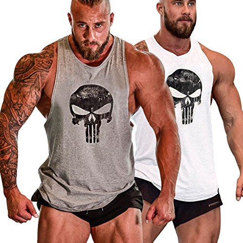 GZXISI Mens Skull Print Stringer Bodybuilding Gym Tank Tops Workout Fitness Vest (2 Pack:Gray,White, X-Large) (Best Tank Tops For Guys)