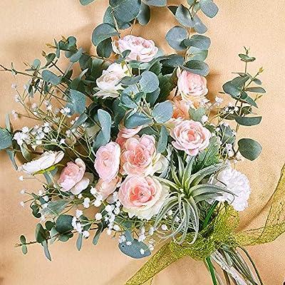 "Supla 3 Pack Silk Ranunculus Artificial Flowers Ranunculus Flower Spray in Peach Pink 17.6"" Tall Blooming Silk Buttercup Stems for DIY Wedding Bridal Bouquets Floral Arrangement Centerpiece"