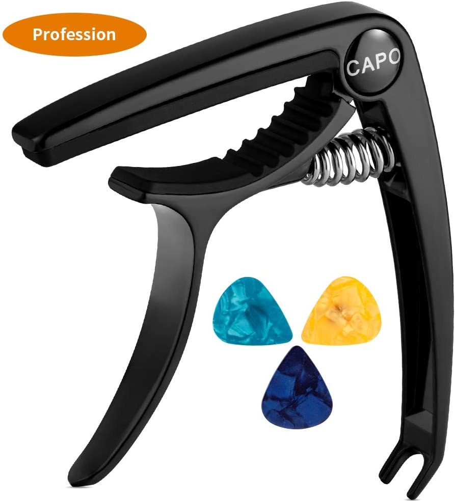 Professional Guitar Capo,Quick-Change Capo for Acoustic and Electric Guitar, Ukulele, Bass, Banjo, Mandolin - Black Zinc Metal Capo - with 3 Picks