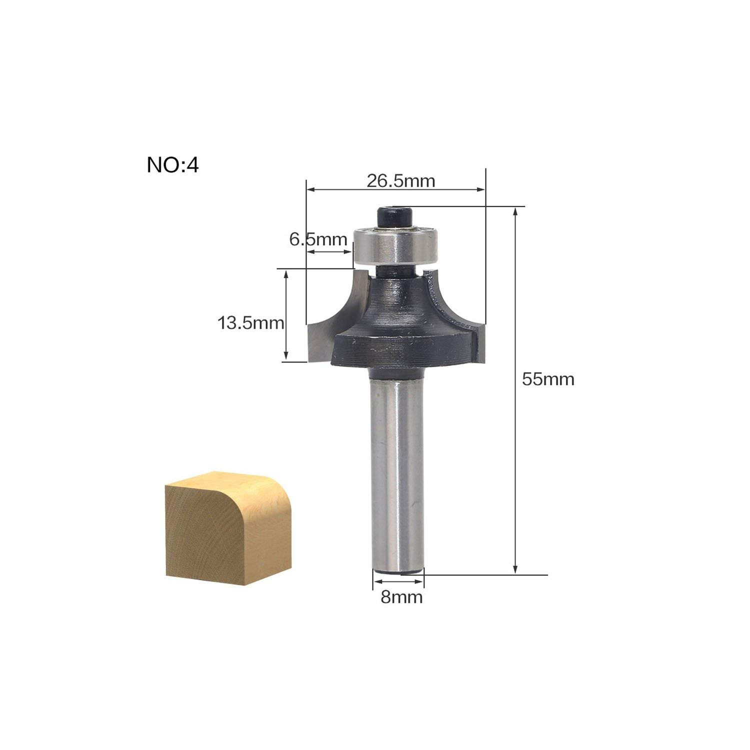 1Pcs 8mm Shank Wood Router Bit Straight End Mill Trimmer Cleaning Flush Trim Corner Round Cove Box Bits Tools Milling Cutter,No1