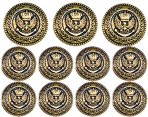 Premium ANTIQUE GOLD Finished ~CROWNED EAGLE CREST~ METAL BLAZER BUTTON SET ~ 11-Piece Set of Shank Style Fashion Buttons For Single Breasted Blazers, Sport Coats, Jackets & Uniforms ~ (Mens Crowned)