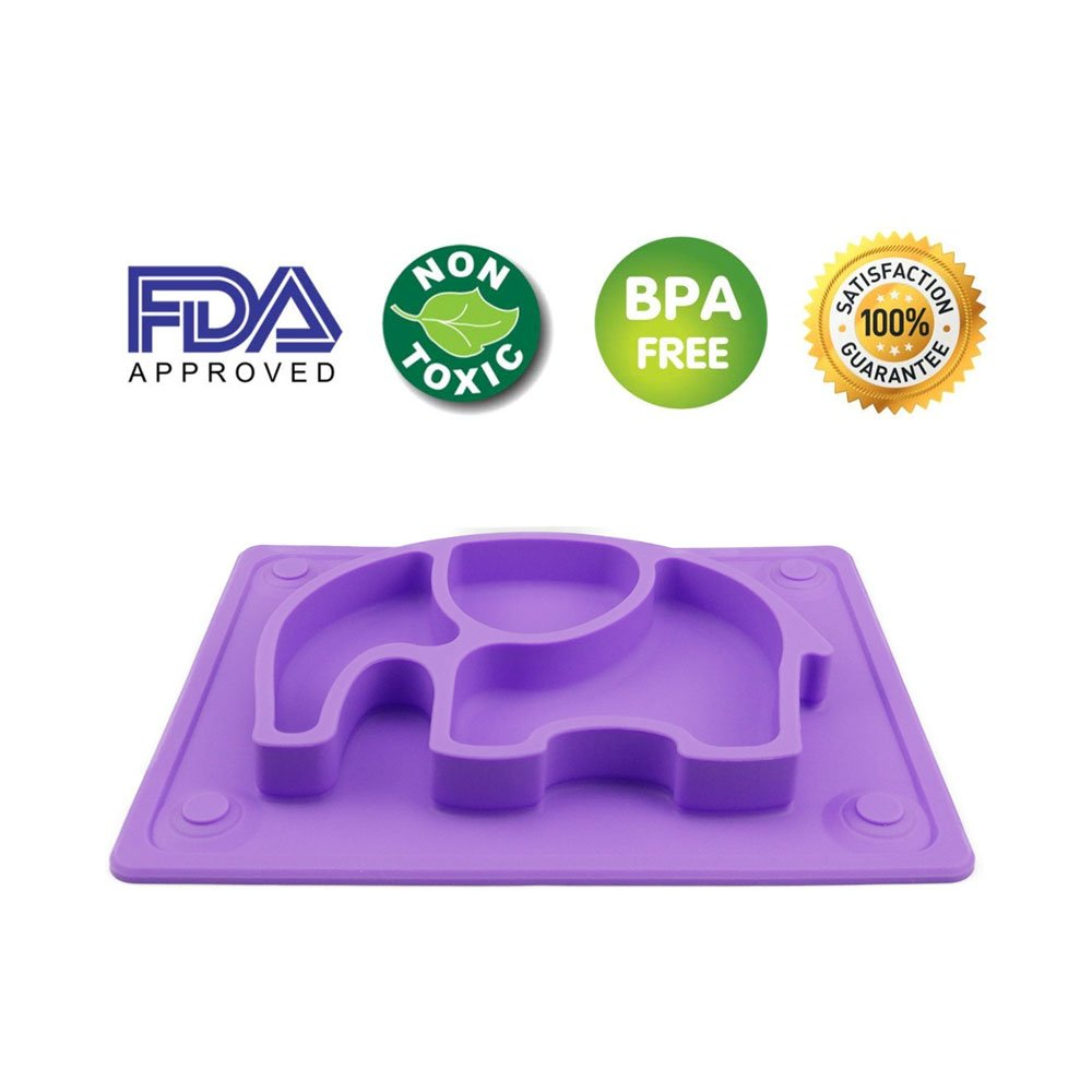 Mini Baby Placemat, SILIVO 10''x7.7''x1'' Silicone Child Feeding Mat with Suction Cup Fits Most Highchair Trays (Purple) by SILIVO (Image #3)