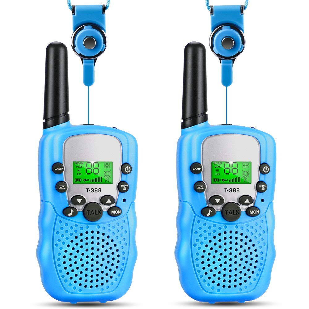 OneBom Walkie Talkies for Kids, Kids 2 Way Radios with 3 Miles Long Range , 2 Lanyards, Portable 22 Channel T388 (Blue)