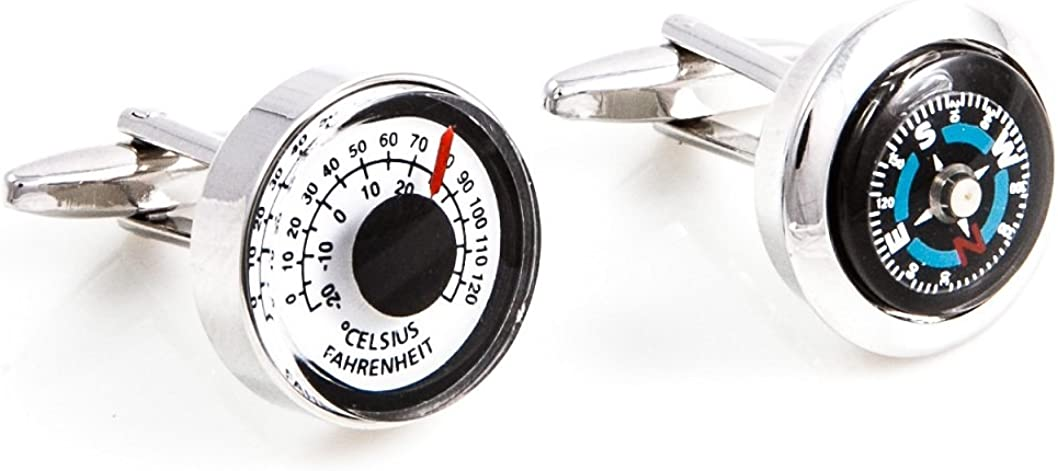 MRCUFF Compass /& Thermometer Pair Cufflinks in a Presentation Gift Box /& Polishing Cloth