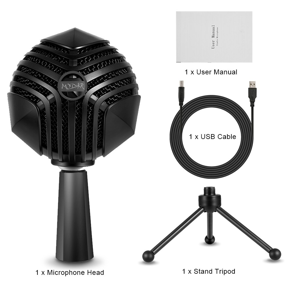 MODAR USB Cardioid Microphone Stand, Studio Broadcasting Recording Condenser Mic Desktop Professional with LED Power Indicatior, Volume Adjuster, Mute Button, USB Port and Headphone Jack by MODAR (Image #10)