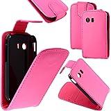 ebestStar - pour Samsung Galaxy Y S5360 - Housse Coque Etui Flip Simili Cuir à Rabat vertical, Couleur Rose [Dimensions PRECISES de votre appareil : , écran 0'']
