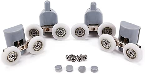 4 Upper Rollers and 4 Bottom Rollers SSyang 8 Piece Sliding Glass Bathroom Wheels Runners,Shower Door Rollers Single Bottom Top Pulleys Wheels Runners Bathroom Replacement kit Upper Bottom Rollers