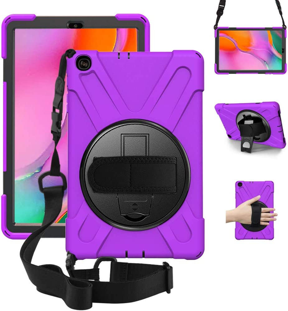 "ZenRich Galaxy Tab A 10.1 Case 2019 T510 T515, zenrich Shockproof Heavy Duty Rugged Case with 360 Rotating Kickstand Hand Strap Shoulder Belt for Samsung Galaxy Tab A 10.1"" SM-T510/T515-Purple"