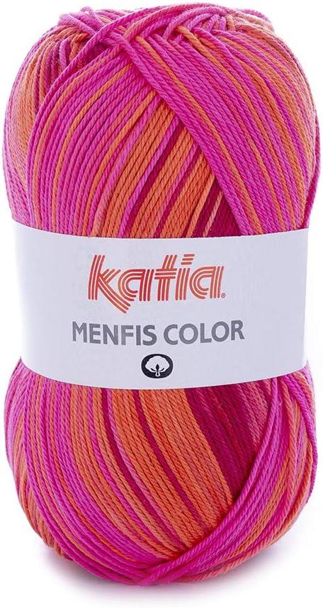 Katia 2019!!! 100 g Menfis Color – Color 100 Coral/Naranja – Fino ...
