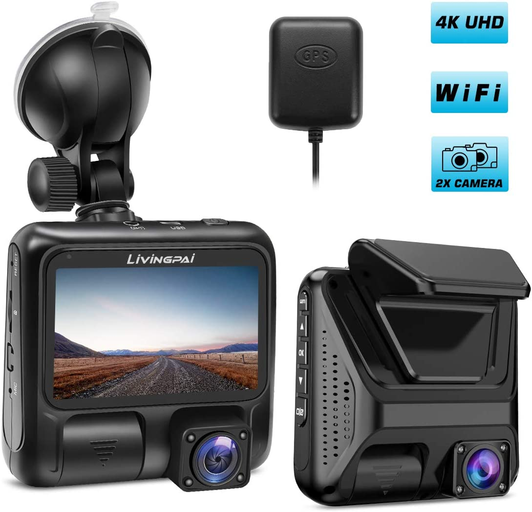 """Dual Dash Cam 4K Front and Interior Car Camera 1080P+1080P 3"""" LCD Screen with Wi-Fi GPS 170° Wide Angle Pro Dash Camera for Cars/Truck/Taxi with Night Vision Parking Mode G-Sensor WDR Loop Recording"""